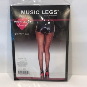 Diamond stud sheer pantyhose OS